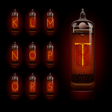 Nixie tube alphabet k to t. EPS 10 file