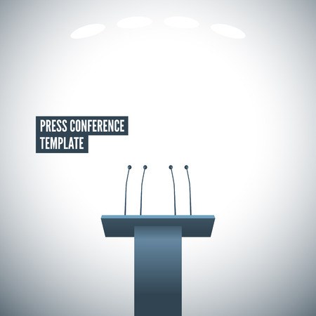 press conference: Press conference with tribune vector template. EPS 10 file Illustration