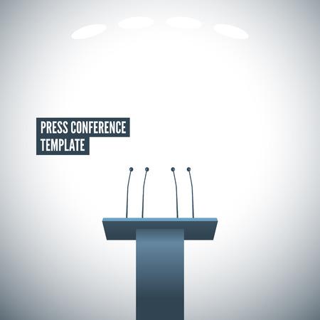 rueda de prensa: Rueda de prensa con la plantilla tribuna vectorial. EPS 10 archivos