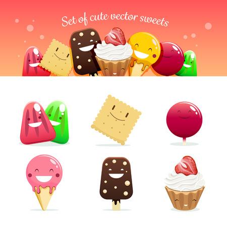helados caricatura: Conjunto de dulces lindos del vector. 10 EPS archivo.