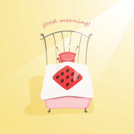 awake: Cute coffee cup wakes up and wishes you good morning - vector illustration. EPS 10 file Illustration