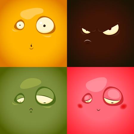 extrañar: Lindo emociones de dibujos animados enojo, sorpresa, tristeza, vergüenza - ilustración vectorial. EPS 10 archivos