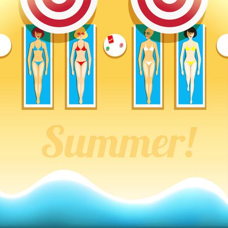 yellow bikini: Women are sunbathing on the beach vector illustration. EPS 10 file Illustration