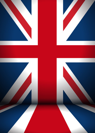 illuminated: The stage is decorated with Great Britain flag - vector background. EPS 10 file