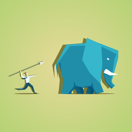 pursuit: Businessman in pursuit of profit in the form of an elephant. EPS 10 file Illustration