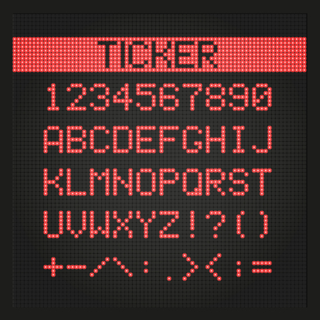 ticker: Ticker board digital font. EPS 10 file Illustration