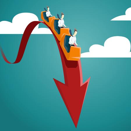 crisis economica: El hombre de negocios está montando en una montaña rusa. Vector crisis financiera y económica concepto gráfico. EPS 10 archivos