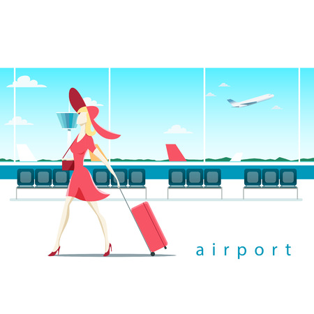 luggage travel: Woman with suitcase at the airport vector illustration EPS 10 file