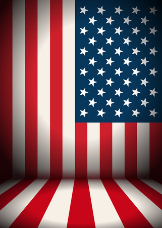 The stage is decorated with USA flag - vector background. EPS 10 file