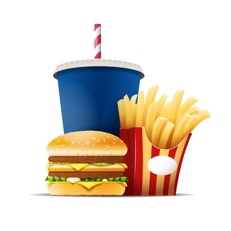 drink food: Fast food still life with a hamburger, fries and drink isolated on the white background vector illustration. EPS 10 file