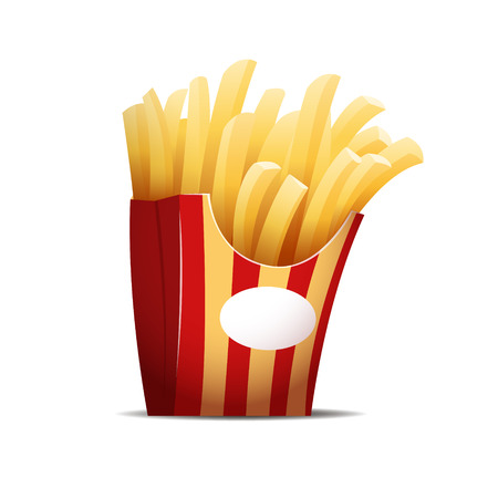 Fries isolated on the white background vector illustration. EPS 10 file Illustration