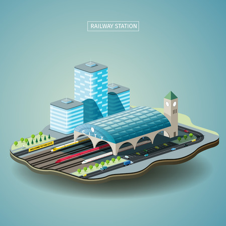 modern train: Railway station in the city isometric vector illustration. EPS 10 file