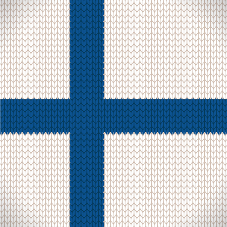 finland: Knitted flag of the Finland icon - vector illustration. EP S10 file Illustration