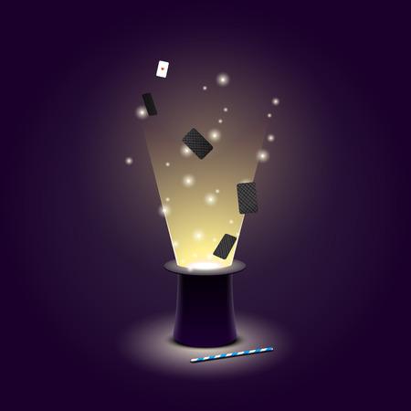 mago: Ilustración del vector del sombrero de mago con las tarjetas y la luz juegan voladores y varita mágica. EPS 10 archivos Vectores