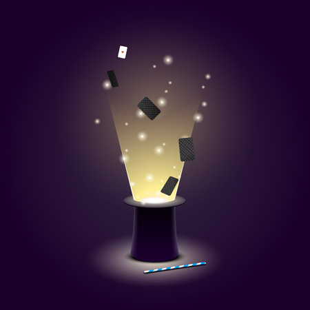 Vector illustration of Magician hat with flying playing cards and light and magic wand. EPS 10 file Stock Illustratie