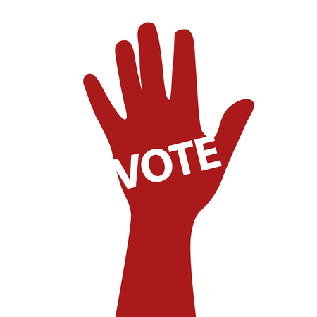 elect: Human hand voting for. Vector poster. EPS 10 file