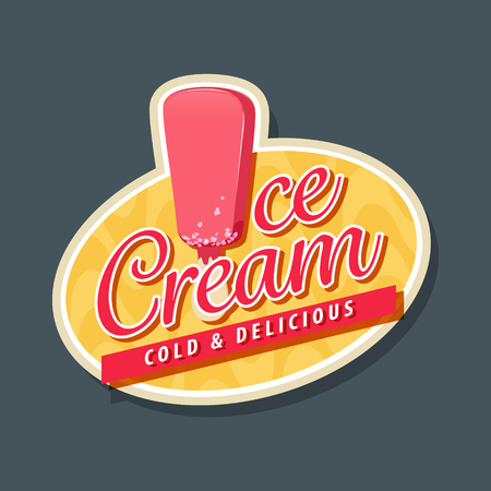 Ice cream logo with ice cream in pink glaze. EPS 10 file