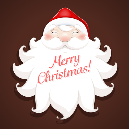 marry christmas: A smiling face of the Santa Claus wishes Marry Christmas and Happy New Year - vector illustration. EPS 10 file Illustration