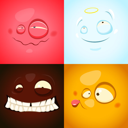 Vector set with cute different emotions. EPS 10 file