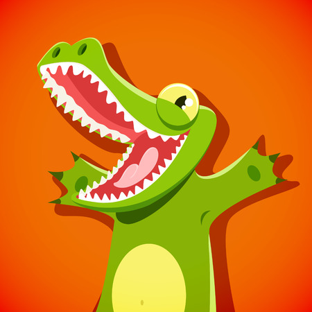 alligator isolated: Funny cute crocodile with a smiley face vector illustration.EPS 10 file