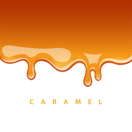 Caramel is flowing down. Vector background. EPS 10 file  イラスト・ベクター素材