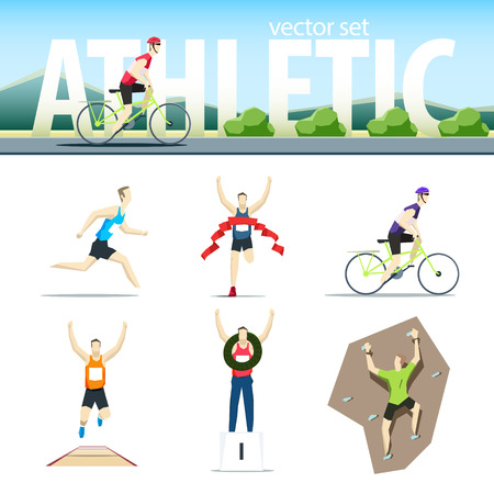 Athletic vector set with different sportsmen: cyclist, rock climber, runner, marathoner, long jumper, winne. EPS 10 file