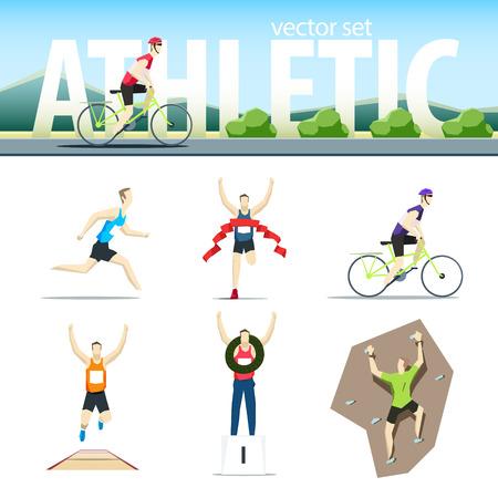 Athletic vector set with different sportsmen: cyclist, rock climber, runner, marathoner, long jumper, winne. EPS 10 file