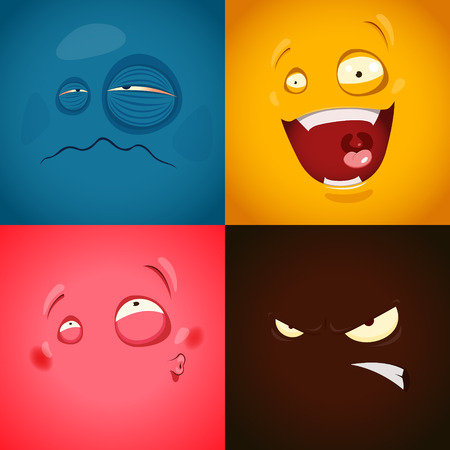 ni�os enfermos: Set con emociones lindas de la historieta. EPS 10 archivos Vectores