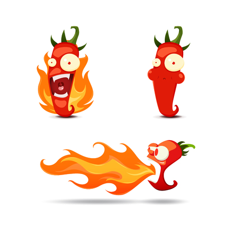 bad breath: Set of the hot chili peppers in cartoon style - vector illustration. EPS 10 file