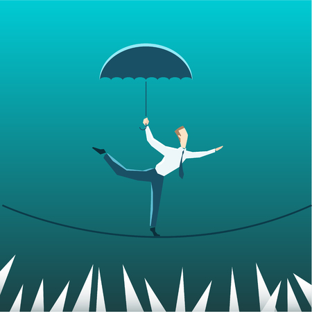 tightrope walker: Businessman with an umbrella over the precipice. Eps 10 file