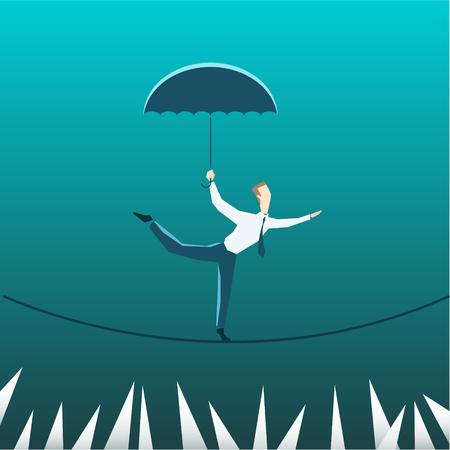 Zakenman met een paraplu boven de afgrond. Eps 10-bestand