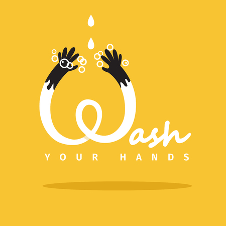 wash your hands: Wash your hands vector poster. EPS 10 file Illustration