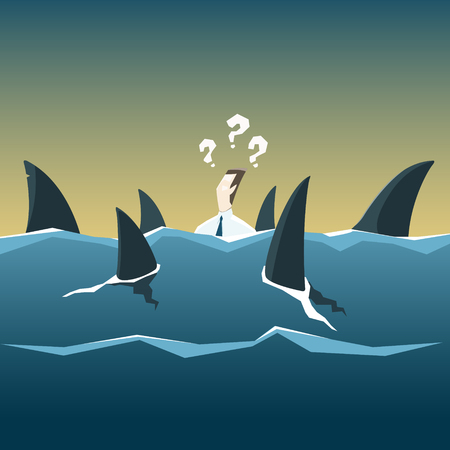 eating questions: Sharks attack businessman who is drowning in the sea. Vector financial and economic crisis concept. EPS 10 file. Illustration