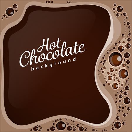 Heiße Schokolade mit Blasen Vektor Hintergrund. EPS 10-Datei