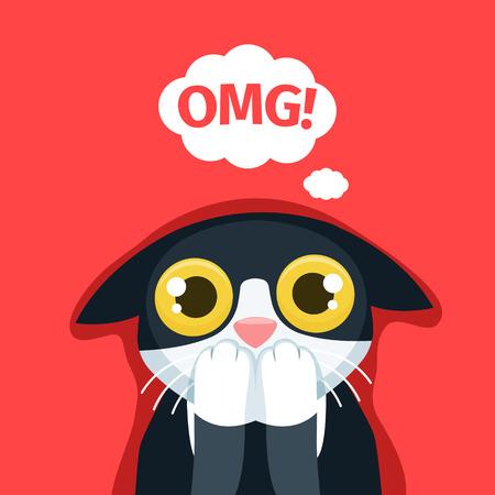 The frightened cat thinks Oh my God. EPS 10 file Illustration