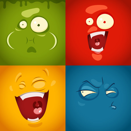 Cute cartoon emotions fear, disgust, laugh, suspicion- vector illustration. EPS 10 file Çizim