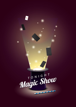 flying hat: Vector poster with magician hat with flying cards and magic wand. EPS 10 file Illustration