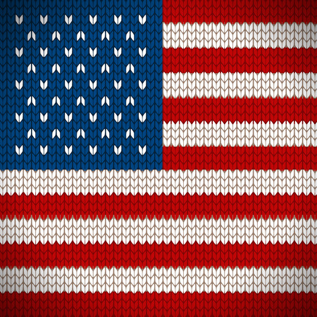 knit: Knitted flag of the USA icon. EPS 10 file