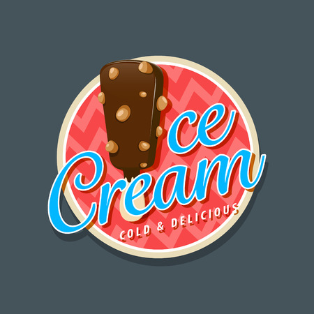 kid cartoon: Ice cream logo with chocolate ice cream with nuts. EPS 10 file