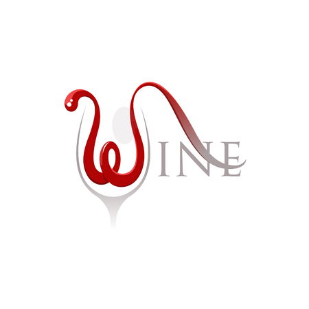 Word wine with letter w in a shape of the flowing red wine isolated on white background - vector illustration. EPS 10 file