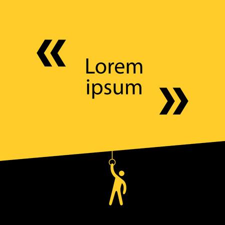 amarillo y negro: El hombre baja la pantalla con el diario. Composición de los colores negro y amarillo. 10 EPS archivo