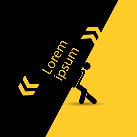 double page: A man holds a heavy burden. Composition of black and yellow colours.