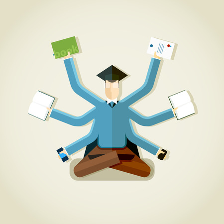 alumni: Alumni student with many hands vector illustration. Multitasking concept. EPS 10 file