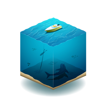 swims: Illustration of the cube. Diver swims in the ocean with a shark. EPS 10 file