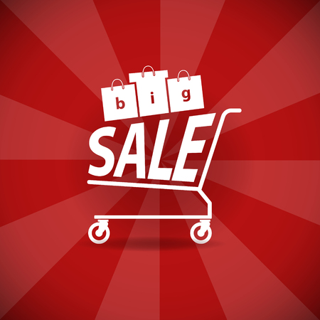 sell: A grocery cart with the inscription Big Sale. EPS 10 file Illustration