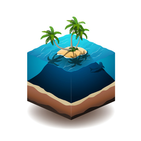 deep ocean: Vector illustration of a palm island in the deep ocean. EPS 10 file