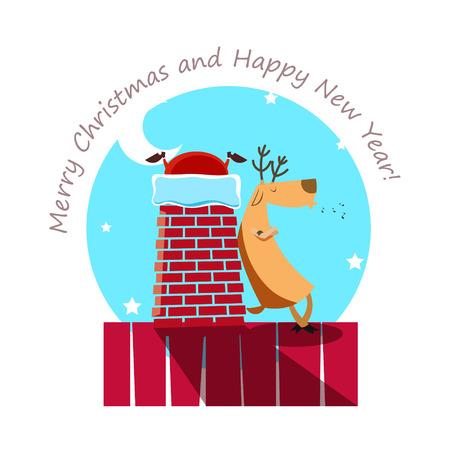 Die Rentiere warten, bis der Weihnachtsmann klettert in das Haus durch den Kamin und ein Geschenke setzen. Weihnachten Konzept. EPS 10-Datei