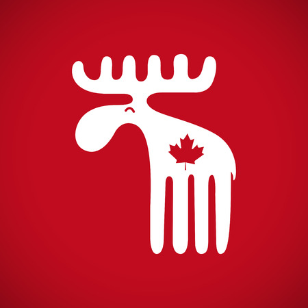 red animal: Vector illustration of an animal symbol of Canada white canadian moose with a red maple leaf on red background. EPS 10 file