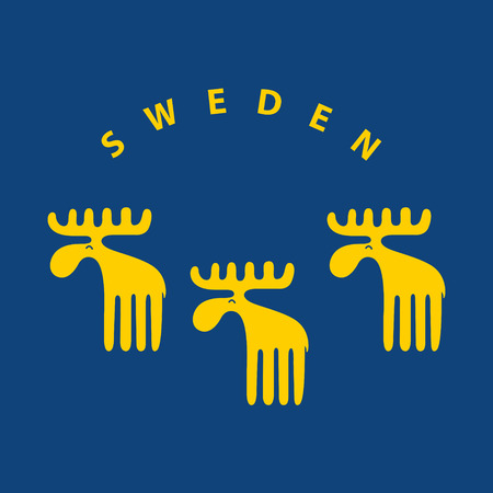 souvenir: Yellow Swedish meese on blue background. EPS 10 file