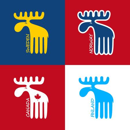 カナダ、スウェーデン、フィンランド、ノルウェーのシンボルとしてのムース。EPS 10 ファイル